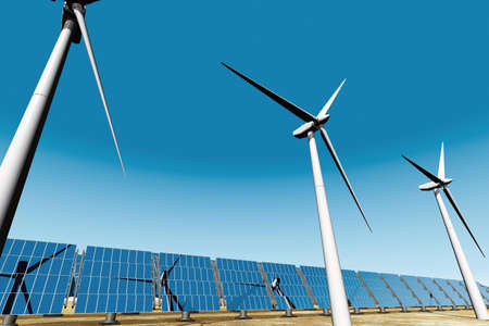 Solar Panels and Wind Turbines photo