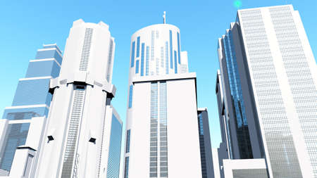 ideological: Concept on Clean White City 3D render