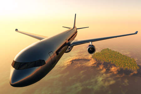 Airplane flying over a tropical island in the sunset 3D render  Stock Photo