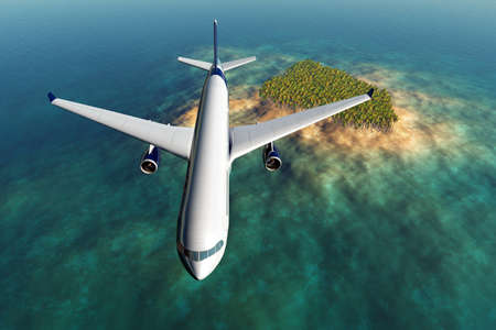 Airplane flying over a tropical island 3D render  Stock Photo