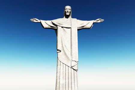 Jesus Statue in Rio De Janeiro Brazil Corcovado Mountain 3D render