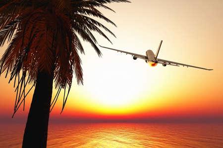 Airplane leaving tropical paradise 3D render Banque d'images