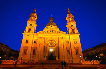 Saint Stephen Basilica in Budapest Hungary at night
