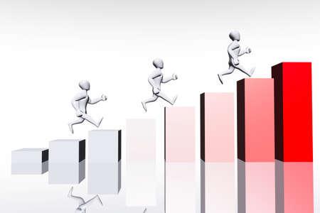 evaluating: Empresas concepto de carrera en 3D render