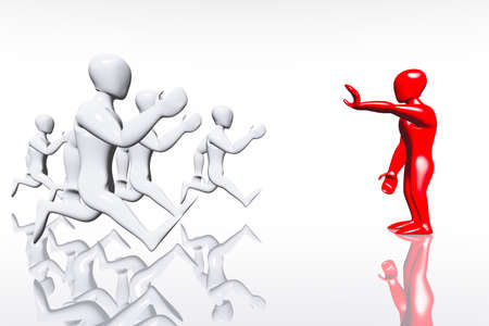 Red Human Figure Show Stop Sign to Runners Business Concept 3D render
