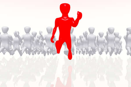 The Leader and Followers Business Concept 3D render