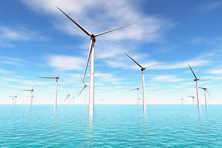 megawatt: Wind Farm in the Sea  3D render