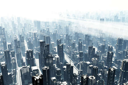 futuristic city: Futuristic Metropolis 3D render