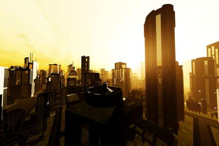 Futuristic Metropolis 3D render photo