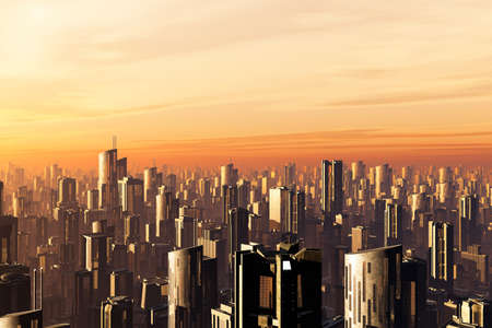 future city: Futuristic Metropolis 3D render