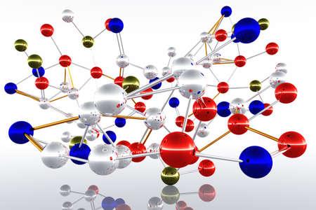 Complex Molecule Structure 3D render