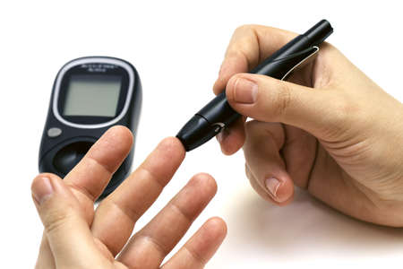 Checking Blood Glucose Stock Photo