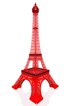 Red Eiffel Tower 3D render