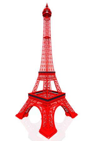 Red Eiffel Tower 3D render