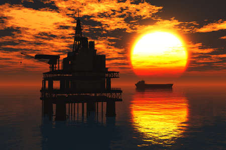 Oil Platform and Tanker in the Sea Sunset 3D render