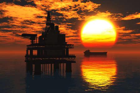 oil platform: Oil Platform and Tanker in the Sea Sunset 3D render