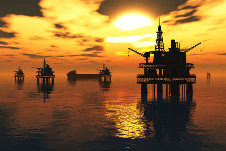 the tanker: Aceite de la plataforma y cisterna en el mar Puesta de sol en 3D render