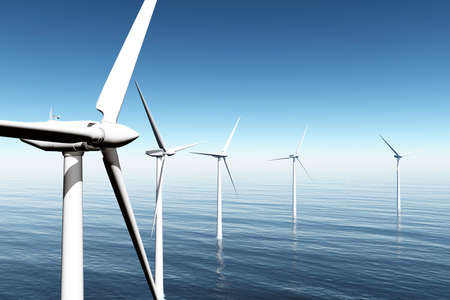 Wind Farm in the Sea  3D render