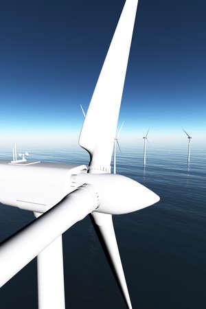 windturbine: Wind Farm in the Sea  3D render