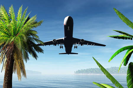 Airplane Arriving in Tropical Paradise 3D render Stock Photo