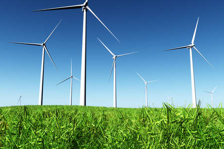 Windfarm in Field 3D render Stock Photo