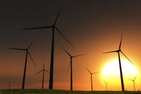 Windfarm in Field sunset 3D render