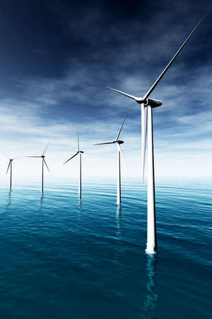 Wind Farm in the Sea  3D render photo