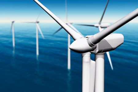 aero generator: Wind Farm in the Sea  3D render