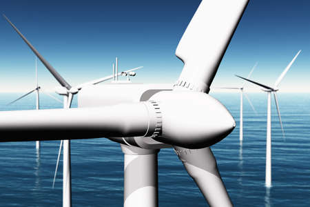 Wind Farm in the Sea  3D render photo