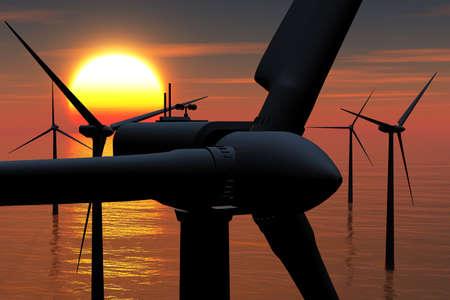 aero generator: Wind Farm in the Sea sunset 3D render Stock Photo