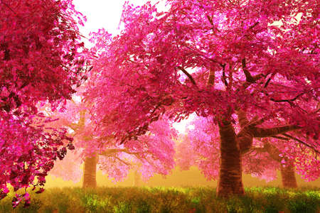surrealistic: Mysterious Cherry Blossoms Japanese Garden cartoony 3D render Stock Photo