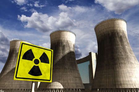 Nuclear Station Power Plant Cooling Towers 3D render and clouds