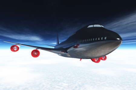 Airplane flying 3D render  photo