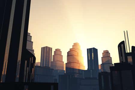 overpopulation: Metropolis skyscrapers sunset   sunrise 3D render
