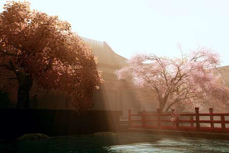 Surrealistic Mysterious Japanese Garden 3D render photo