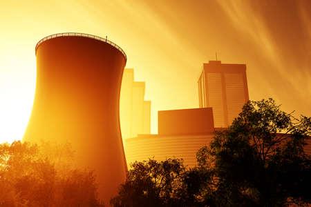 Nuclear power plant 3D render