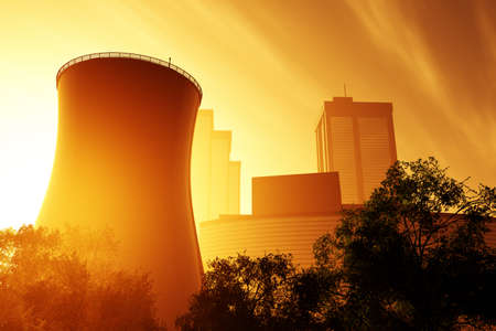 Nuclear power plant 3D render photo