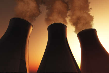 Nuclear power plant smoking stacks 3D render Stock Photo