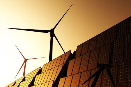 Wind turbines and solar panels 3D render