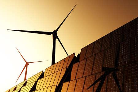Windturbines en zonnepanelen 3D render Stockfoto