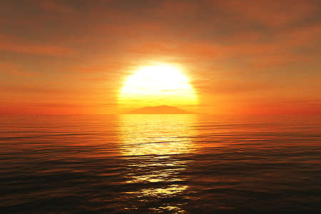 Sunset  sunrise and sea 3D render Stock Photo
