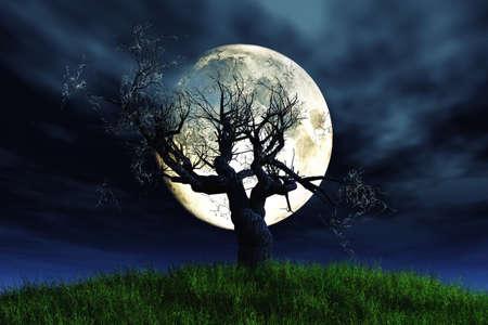 Eenzame Boom Moonlight 3D render Stockfoto