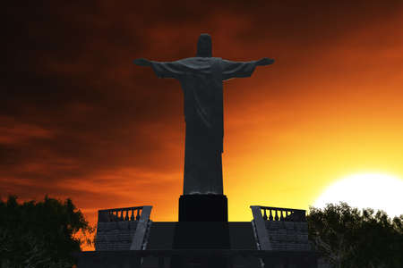 rio de janeiro: Jesus Statue in Rio De Janeiro Brazil Corcovado Mountain 3D render