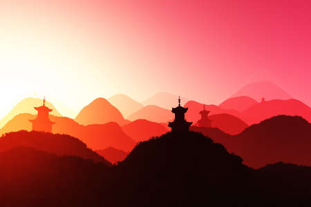 Magical Oriental Sunset 3D render photo