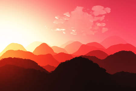 Magical Oriental Sunset 3D render