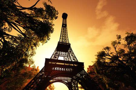 Eiffel Tower Paris 3D render Stock Photo