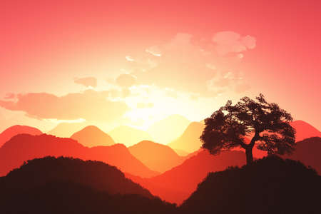 Magical Oriental Sunset 3D render