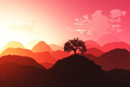 mystique: Magical Oriental Sunset 3D render