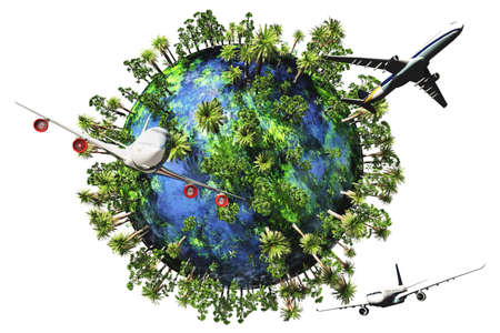 recursos naturales: Viajes Naturaleza Concepto 3D render Foto de archivo