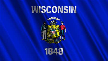 wisconsin: Wisconsin Flag Stock Photo